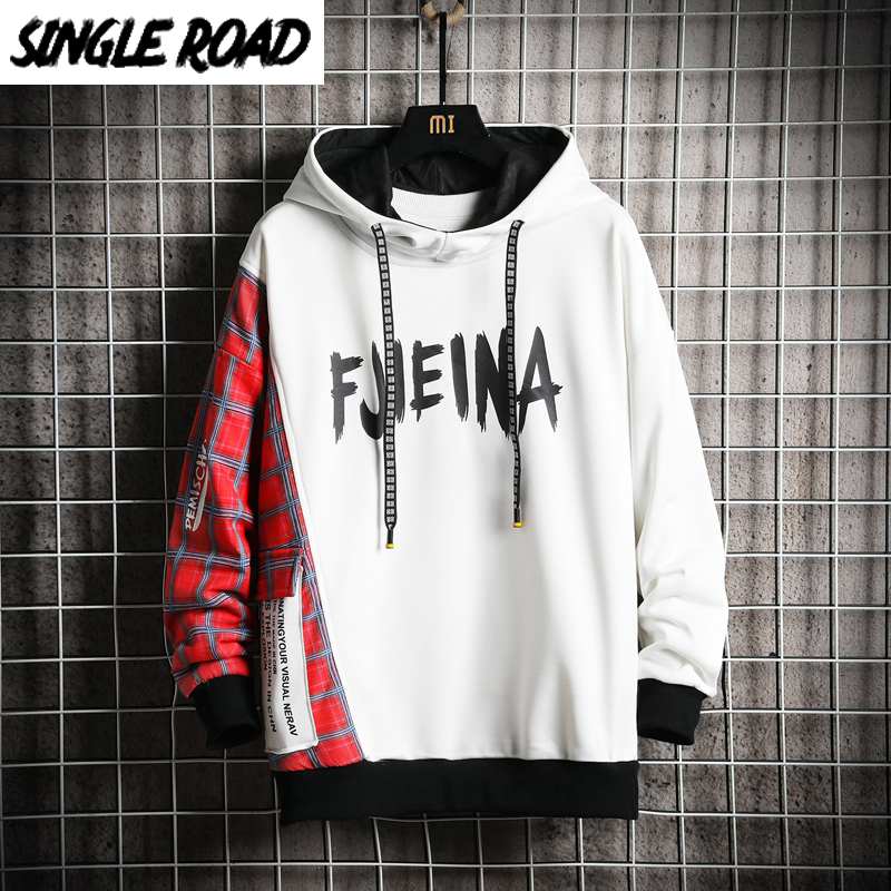 SingleRoad Men's Hoodies 2020 Plaid Patchwork Sweatshirt Japanese Streetwear Harajuku Hip Hop Sweatshirts Male White Hoodie Men