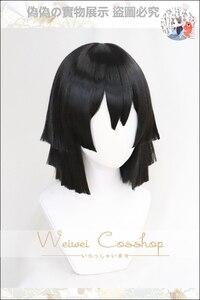 Image 2 - Şeytan Slayer: kimetsu hiçbir Yaiba Iguro Obanai Cosplay peruk siyah sentetik saç cadılar bayramı konser rol oynamak tarz peruk yetişkin için