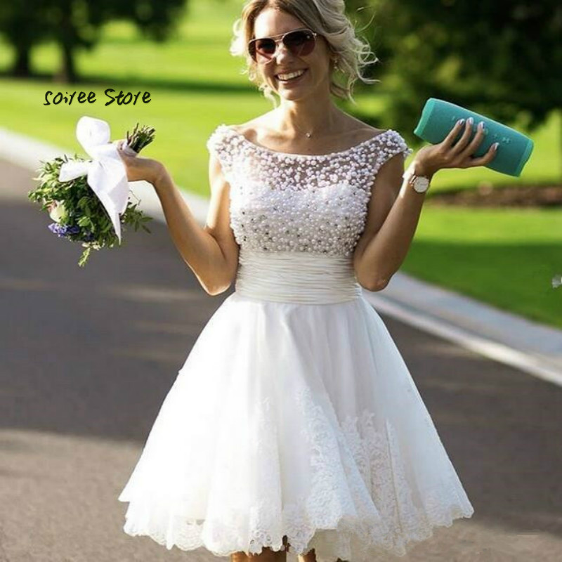 Sexy Boho Short Wedding Dress 2018 Princess Backless Rustic Country Wedding Gowns With Pearls Turkey Robe De Mariee Trouwjurk