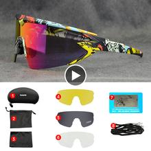 Top marka okulary rowerowe Mtb Road okulary rowerowe Outdoor Sports mężczyźni okulary rowerowe spolaryzowane UV400 4 soczewki okulary rowerowe tanie tanio kapvoe UV400 + Polarized 55mm Polarized cycling glasses mtb road bike glasses MULTI 145mm Poliwęglan Unisex TR-90 Photochromic Lens