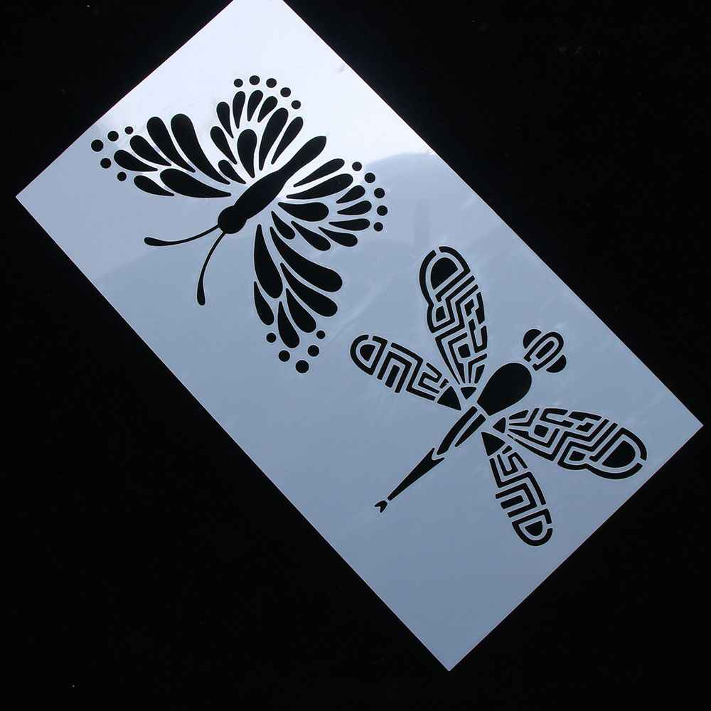 New arrival 1pc Butterfly Dragonfly Reusable Stencil Airbrush Painting Art Cake Spray Mold DIY Decor Crafts Free Shipping Hot sa