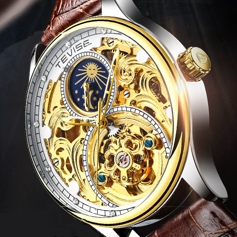 Tevise Automatic Watch Men Mechanical Watches Hollow Skeleton Self Winding  Male Luxury Brand Sport Wrist Watch Relogio Masculino|Mechanical Watches| -  AliExpress