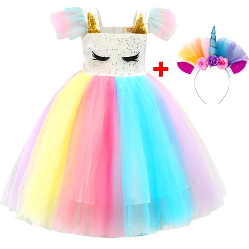 Baby Girls Unicorn Rainbow Christmas Brithday Sequin Tutu Dresses Clothes Children Kids Princess Party Little Pony Clothing 1