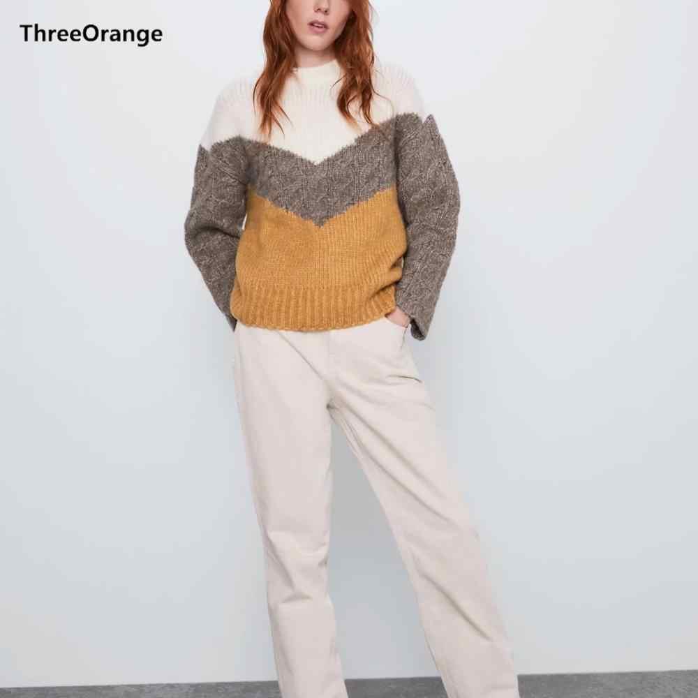 ZA nowy zimowy jesień sweter z dzianiny kobiet sweter geometryczny colorblock kontrast wzór dorywczo luźny sweter kobiet