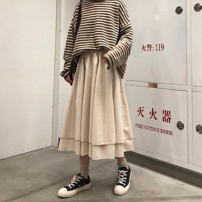 Black Beige Korean Spring High Waist Long Skirts Solid Color A Line Irregular Cascading Skirts Womens Female Elegant Streetwear