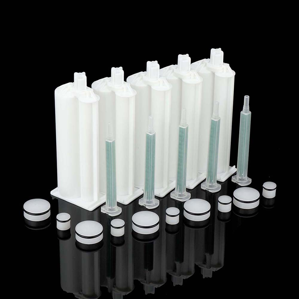 5Pcs/Set AB 50ml 4:1 Glue Cartridge Manual Dispense Cartridge Tube Disposable Epoxy Resin Dual Glue Cartridge With Mixing Nozzl