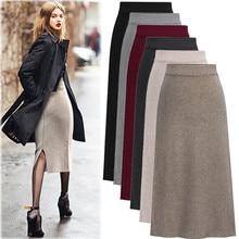 Winter Wool Skirts for Women Long Length High Waist A-line Pleated Wool Long