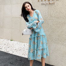 Sweet V Neck Long Sleeve Floral Dress Women Simple Loose Blue Chiffon Ladies Dresses Print Midi Korean White Dress Elegant S-XL bowtie chiffon long sleeve dress women korean vintage black print sweet ladies dresses autumn kawaii midi robe femme 2019 s xl