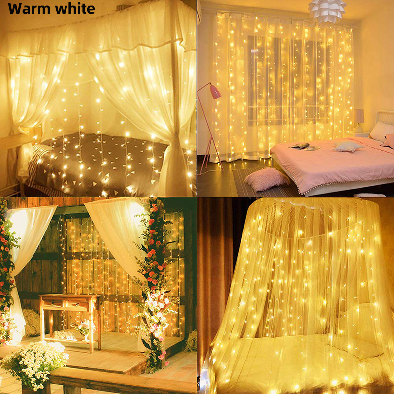 3*3m 300leds Led Curtain String Light Led Christmas Garland Party Patio Window Decor Fairy Lights Xmas Wedding Lights EU 220V Pakistan