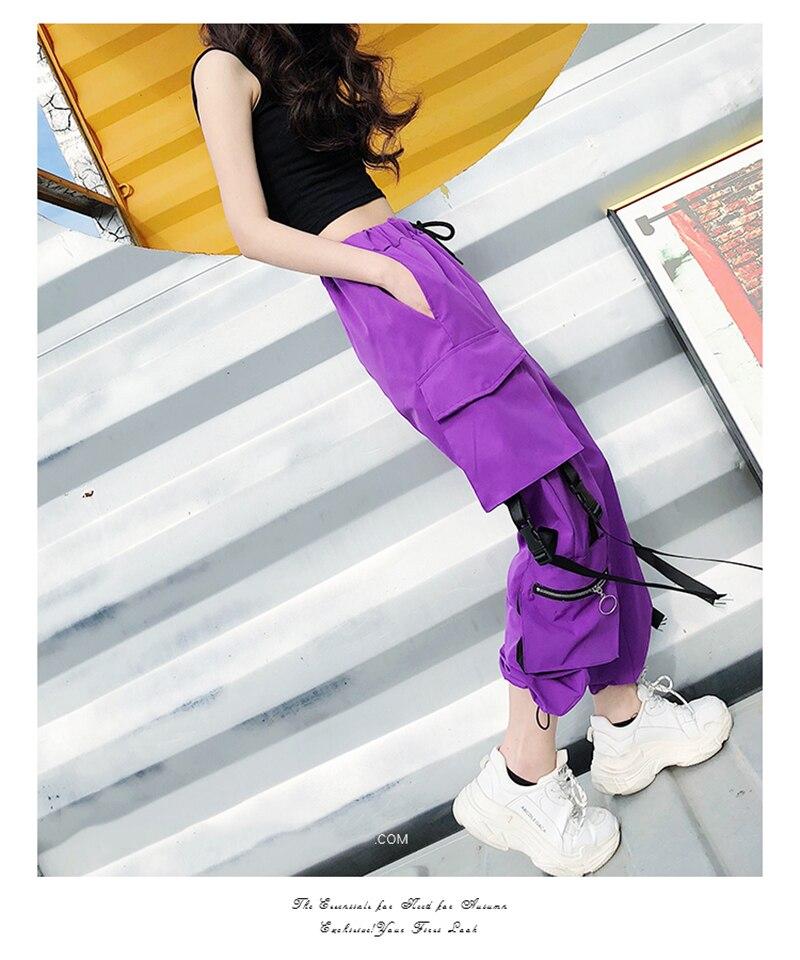 Quente grandes bolsos calças de carga feminina