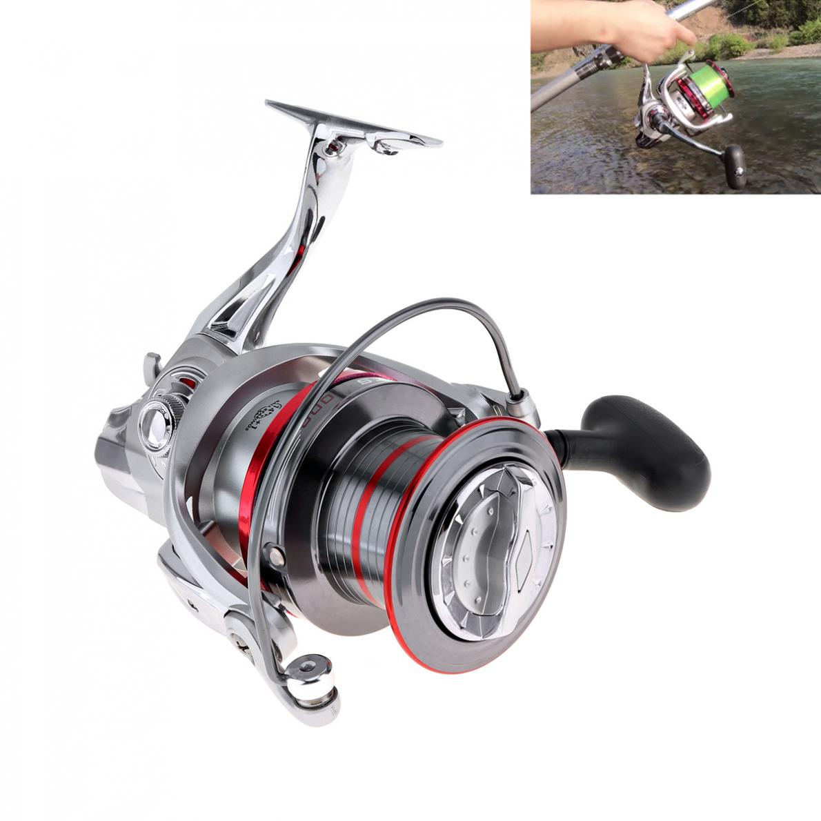 Full Metal Spinning Fishing Reels 10000 Series 14 1 Ball Bearing 25KG 55LB Long Distance Surfcasting Wheel with Larger Spool in Fishing Reels from Sports Entertainment