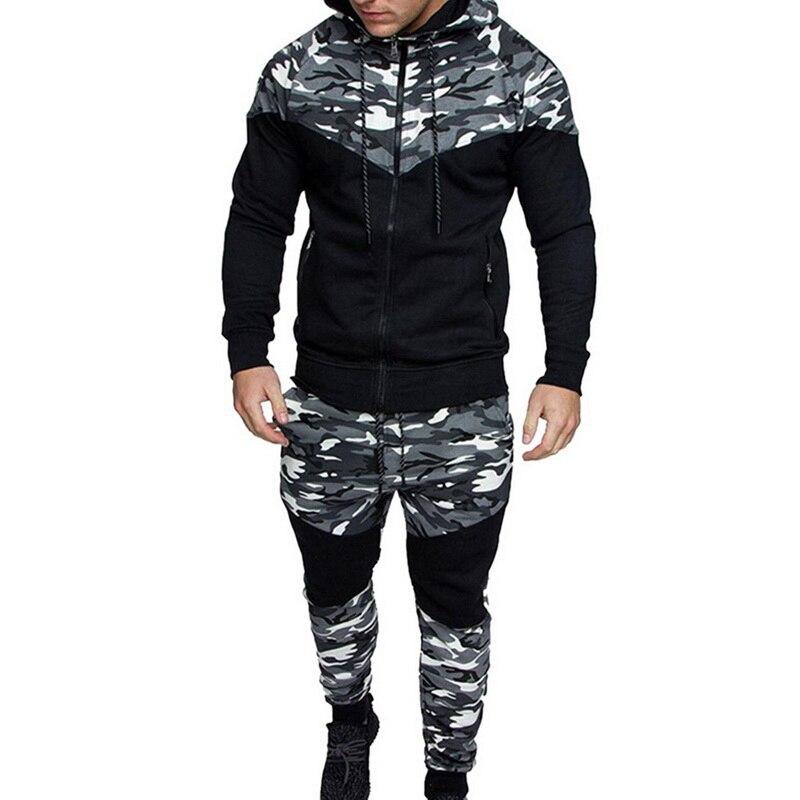 2020 Men Fashion Causal Camouflage Print Sets Camo Jacket+Pants 2Pc Tracksuit Sportwear Hoodies Sweatshirt &Pant Suit Plus Size