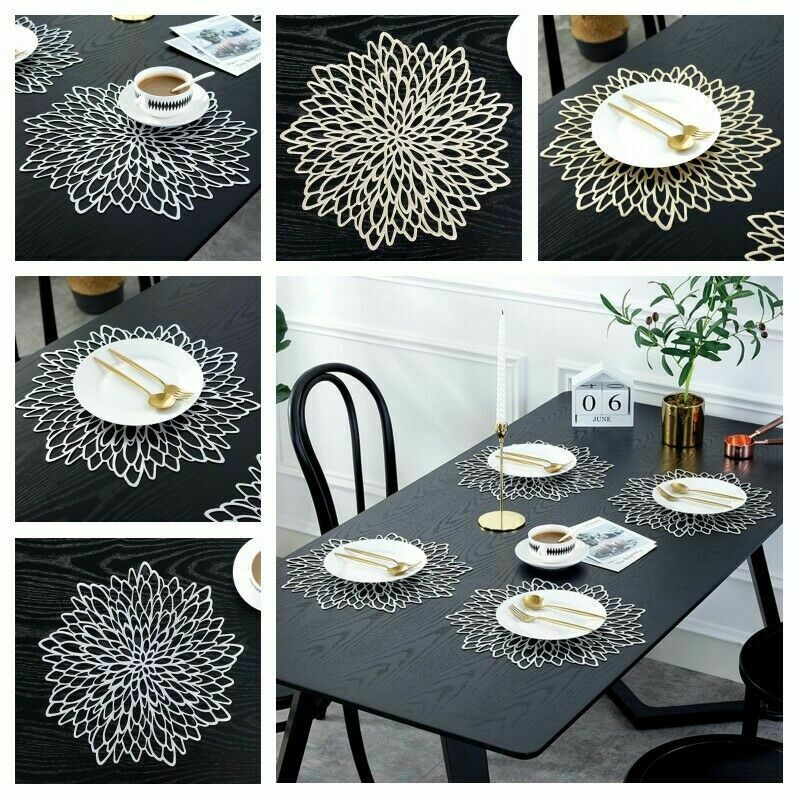 Gold Silver Placemat Dining Table Mat Washable Dining Wedding Party  PVC Packs Flower Design Coaster Decorative Table Pad