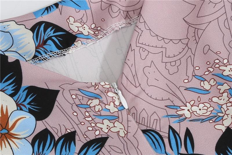 Summer Floral Print Elegant A-line Party Dress Women Slim White Short Sleeve Swing Pin up Vintage Dresses Plus Size Robe Femme 97
