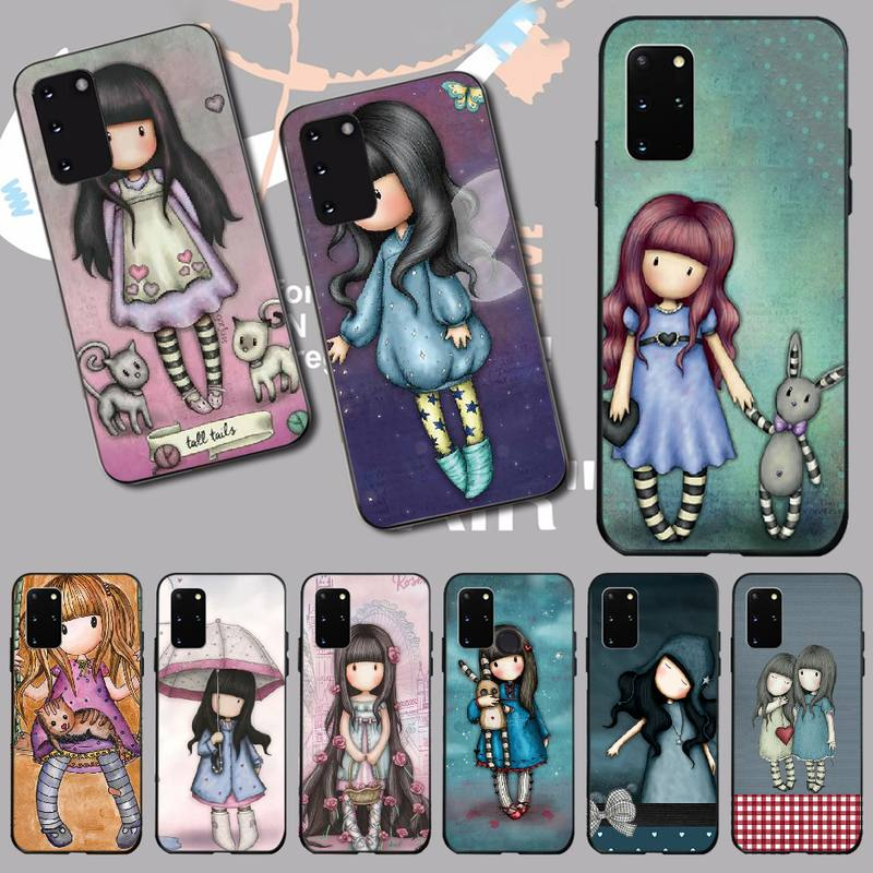 PENGHUWAN Santoro Gorjuss <font><b>cute</b></font> cartoon girl Soft Silicone <font><b>Phone</b></font> <font><b>Case</b></font> for <font><b>Samsung</b></font> S20 plus Ultra S6 S7 edge S8 <font><b>S9</b></font> plus S10 5G image