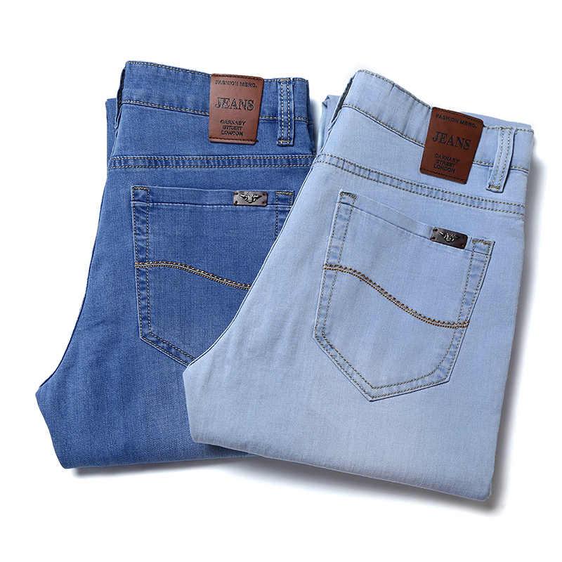 Męskie jeansy męskie męskie Jean Homme Denim dopasowane obcisłe spodnie spodnie proste niebieskie Biker projektant Skinny wysokiej jakości miękka moda