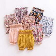 Штаны для девочек детские шорты с цветочным принтом одежда для малышей штаны на подгузник От 0 до 2 лет