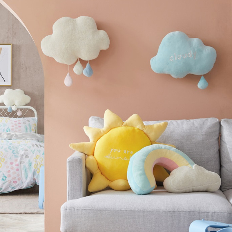 New Arrival Plush Rainbow Cloud Sun Toy Home Decoration Rainbow Cloud Pillow Cute Creative Weather Throw Pillow Kids Toys Gift