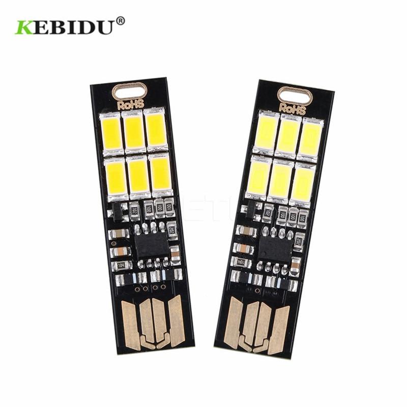 1pc 6 Led Pocket Card Lamp Bulb USB Keychain  LED Night Light Touch Switch Mini
