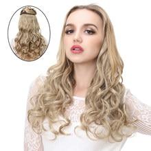 Накладные волосы на клипсе для женщин, белые, цельные, 5 клипсов, Омбре, 20 дюймов, светлые, 3/4 головы, синтетические, искусственные, натуральны...