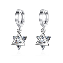 New Arrivals Triangle Crystal Zircon Stone Earrings Fashion 925 Sterling Silver Filled Jewelry Vintage Korean Earrings For Women cute long chain silver stud earrings with bling zircon stone for women fashion jewelry korean earrings 925 silver