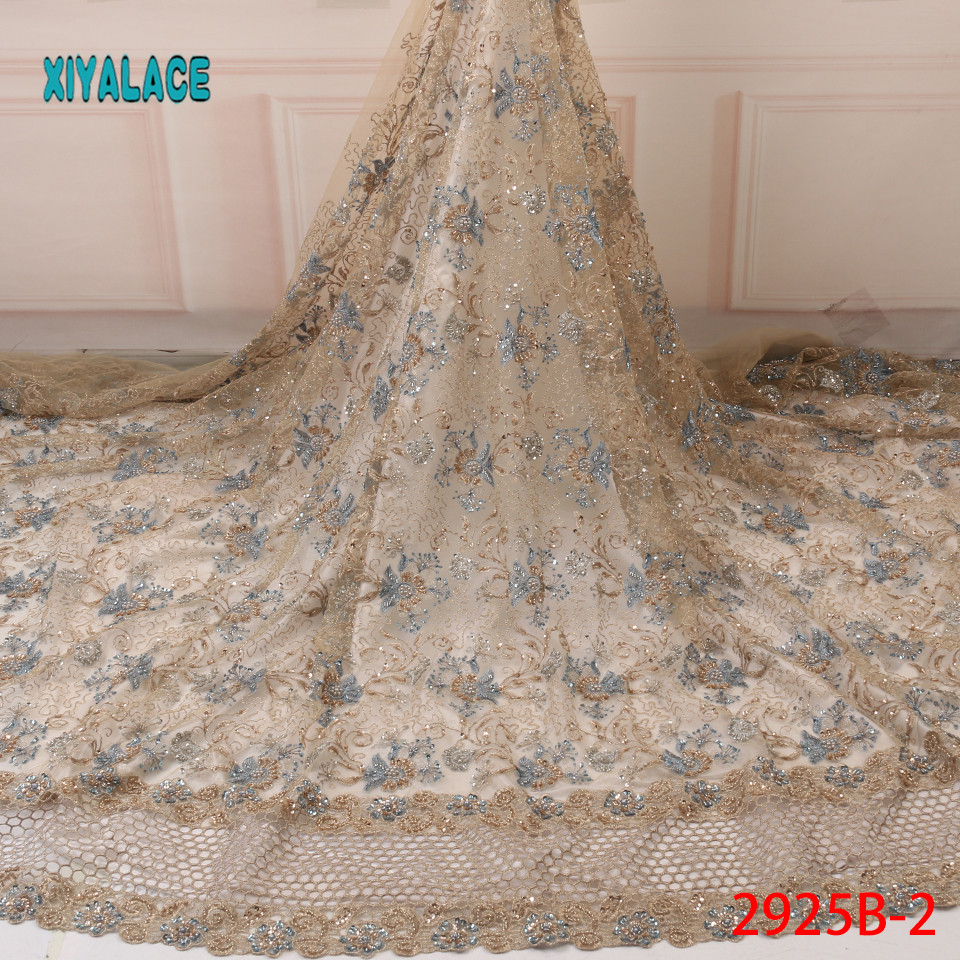 Lace Fabric African Lace Fabric Latest High Quality 2019 Lace Handmade French Bridal Lace For Nigerian Party Dress YA2924B-2
