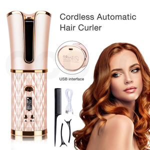 Cordless Curling Iron Automatic Rotating LCD Display Rechargeable Professional Air Hair Curlers Ceramic Waves Curling For Hair