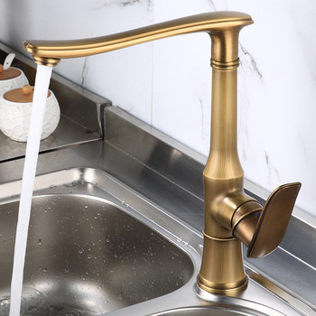 Kitchen Sink Faucets Solid Brass Hot & Cold Sink Mixer Taps Single Handle Deck Mounted Antique Copper Rotating Bathroom Faucets