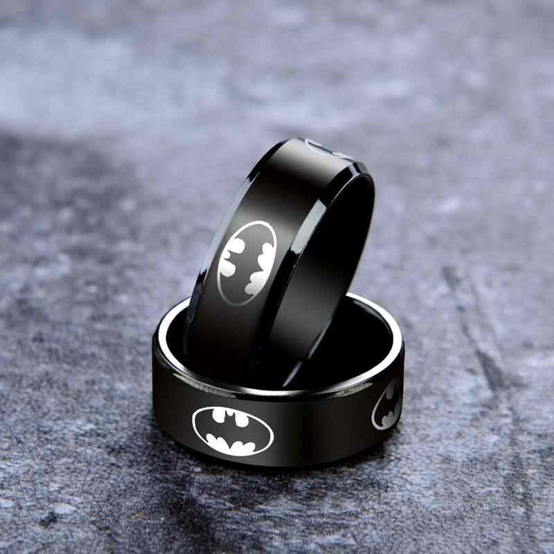 Batman Hero Stainless Steel Ring Men Chain Shackles Anti-allergy Smooth Simple Wedding Couples Ring Bijouterie for Kids Boy Gift