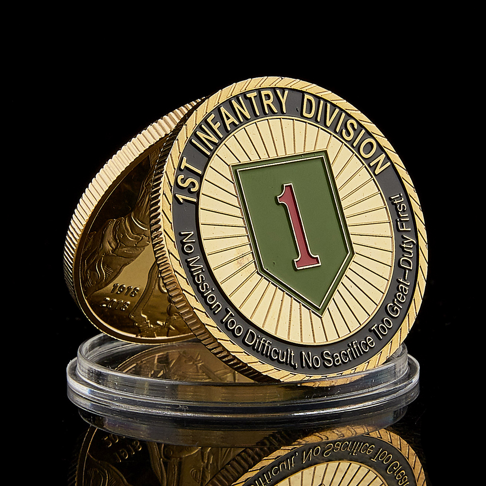 1775 USA Challenge Military Army 1st Infantry Division Great Duty Soldier Honor Gold Plated Value Coin Collection