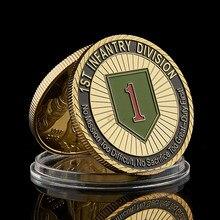 1775 eua desafio exército militar 1st infantaria divisão grande dever soldado honra banhado a ouro valor moeda coleção