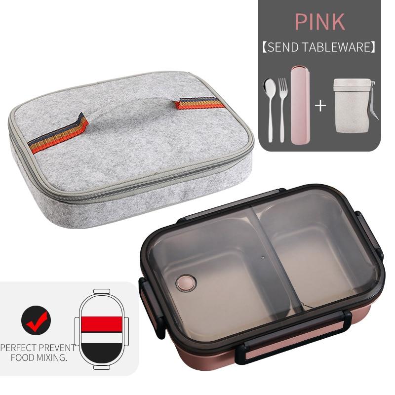 WORTHBUY японский Ланч-бокс для детей школы 304 из нержавеющей стали бенто Ланч-бокс герметичный контейнер для еды детская коробка для еды - Цвет: A Pink Bag Cup Set