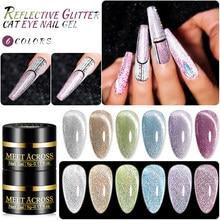 MEET ACROSS Glitter Cat Eye Nail Gel Polish Reflective Sparkling Nail Gel Soak Off UV Gel Magnetic Laser Bling Sequins Lacquers