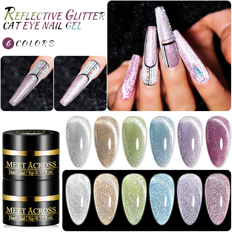 MEET ACROSS Reflective Glitter Cat Eye Nail Gel Explosion Sparkling Nail Gel Soak Off UV Gel Magic Laser Bling Sequins Lacquers