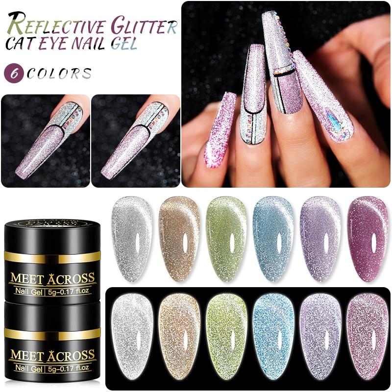 MEET ACROSS Reflective Glitter Cat Eye Nail Gel Explosion Sparkling Nail Gel Soak Off UV Gel Magic Laser Bling Sequins Lacquers