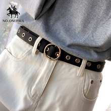 NO ONEPAUL Genuine leather women belt high quality fashion casual alloy round buckle with ladies trend jeans the women for belt cheap Adult Metal Cowskin 2 5cm Solid Belts