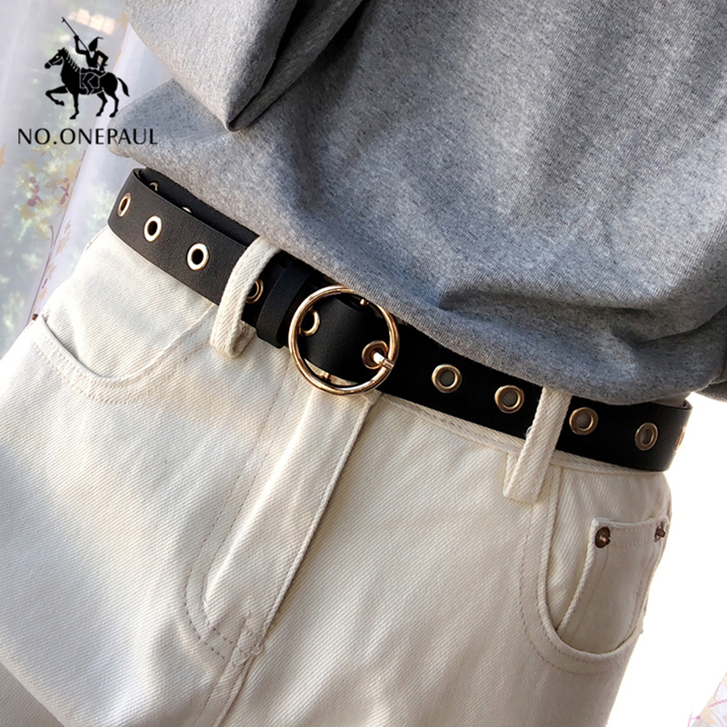 NO.ONEPAUL Genuine Leather Women Belt High Quality Fashion Casual Alloy Round Buckle With Ladies Trend Jeans The Women For Belt