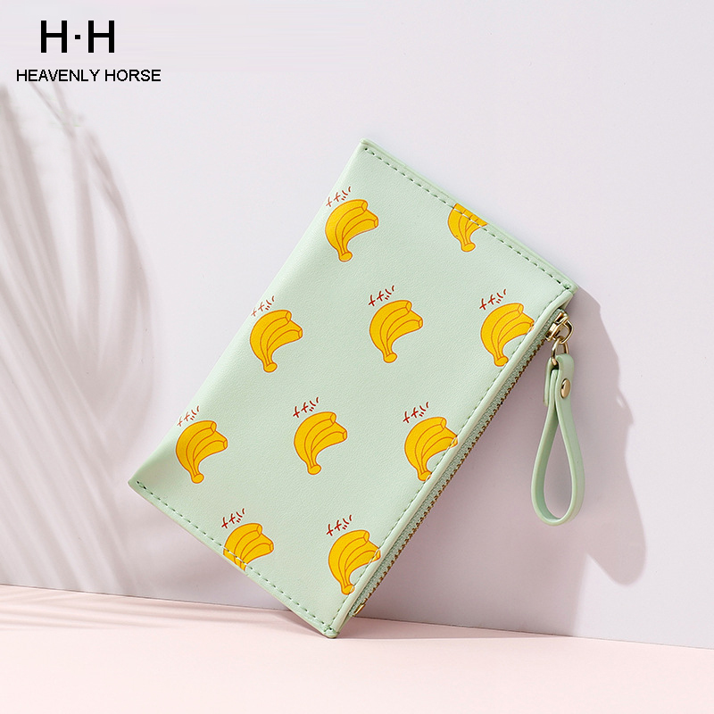 Cute Printing Pattern Women Wallets PU Leather Purse Cute Fruit Women Faux Leather Clutch Long Wallet Card Holder Purse