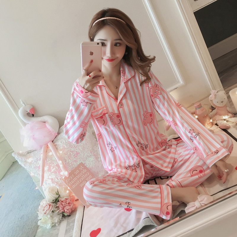 Liang Xing-Autumn & Winter Long Sleeve Pajamas Less Women's Cute Tracksuit Cardigan Double-Sided Qmilch M -Xxl