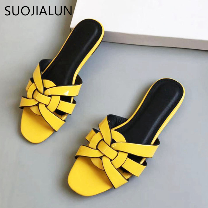 SUOJIALUN Women Brand Slippers Summer Slides Fashion Patent Leather Open Toe Flat Casual Shoes Sandal Beach Flip Flops Size 41
