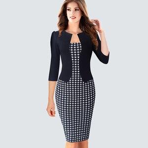Image 4 - Tek parça yanlış ceket kadın ekose ofis elbise kadın sonbahar kış Vintage kıyafetler bayan Bodycon kalem gömme elbiseler HB237
