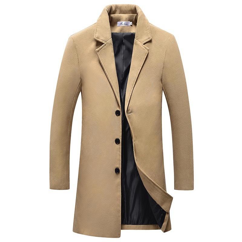 Mens Woolen Coat Autumn And Winter Long Section Slim Windbreaker Tile