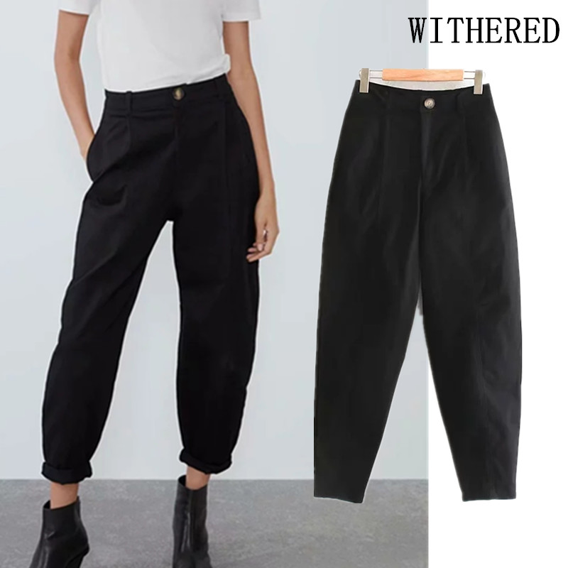 Withered England Style Simple Solid Pleated Loose Casual Harem Pants Women Pantalones Mujer Pantalon Femme Trousers Women