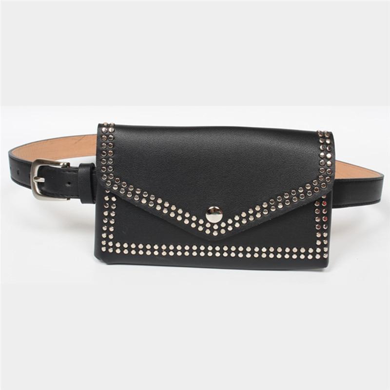 Women Rivets Waist Fanny Pack Belt Bag Women PU Leather Waist Bag Luxury Heuptas Wandelen Groot Handbags Bags Designer