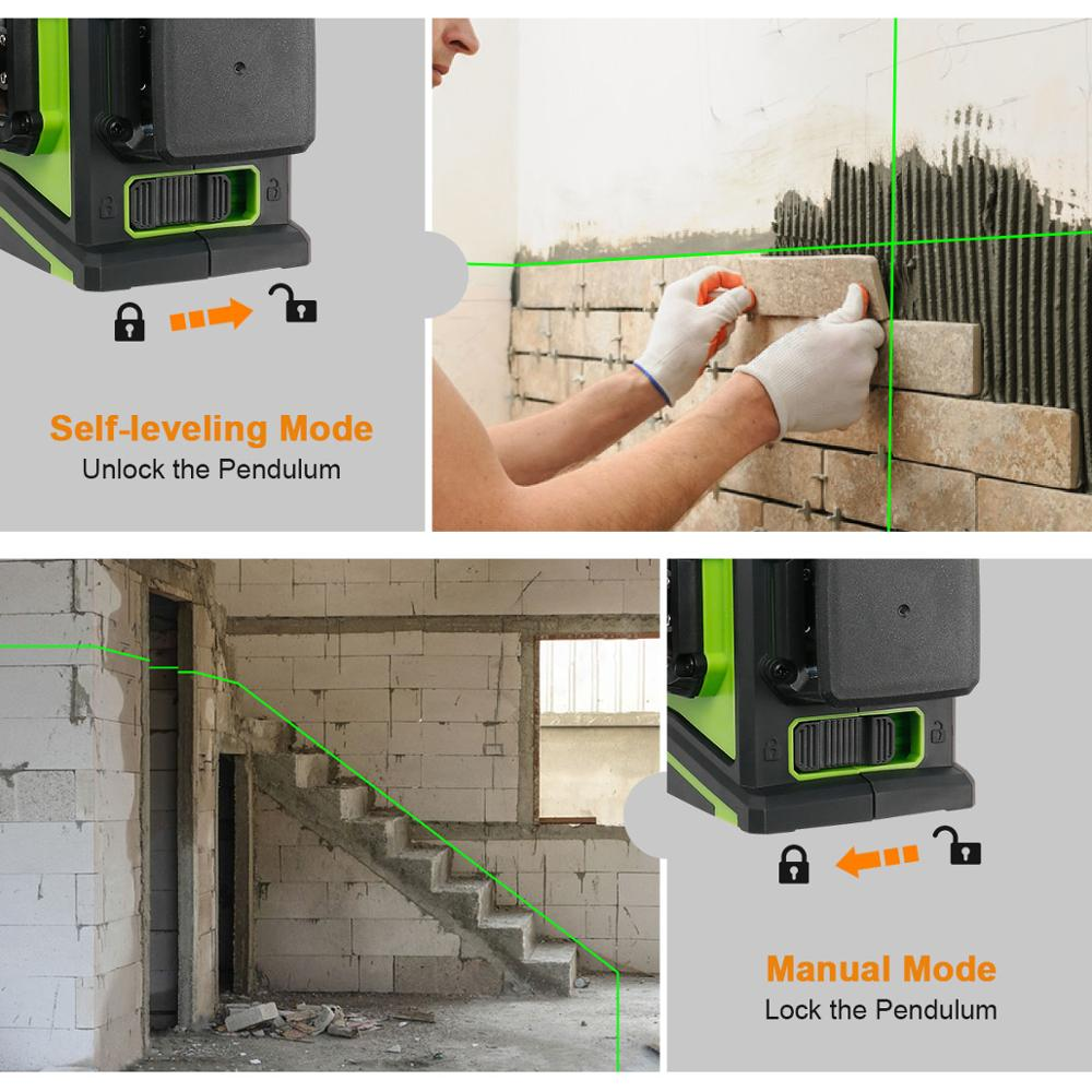 Three Alignment Plane Laser Huepar Cross Port Tool Beam Line 3x360 Leveling Green USB Charging Level Self Laser Leveling 3D