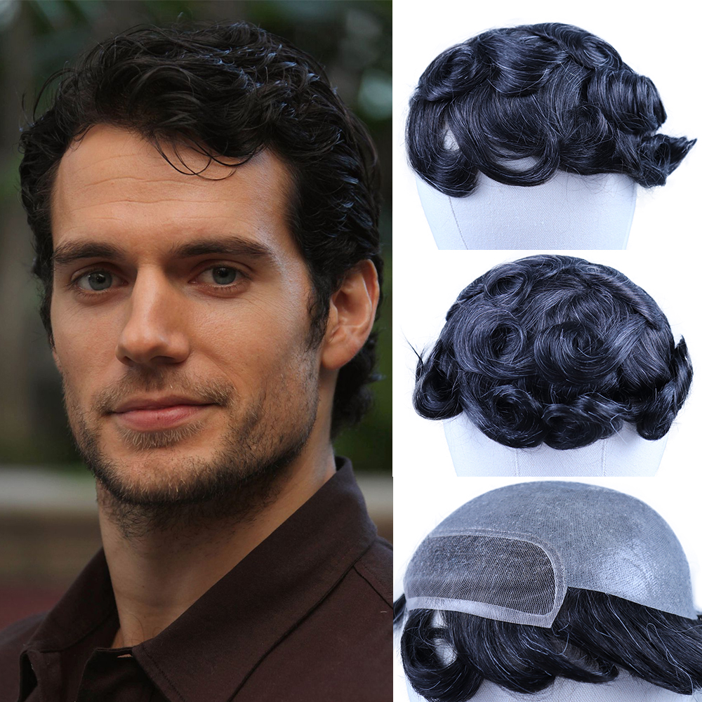YY Wigs #1B Mixed Grey Human Hair Toupee For Men 8x10 Mini Lace With PU Remy Hair Replacement System Hairpieces Men's Toupee