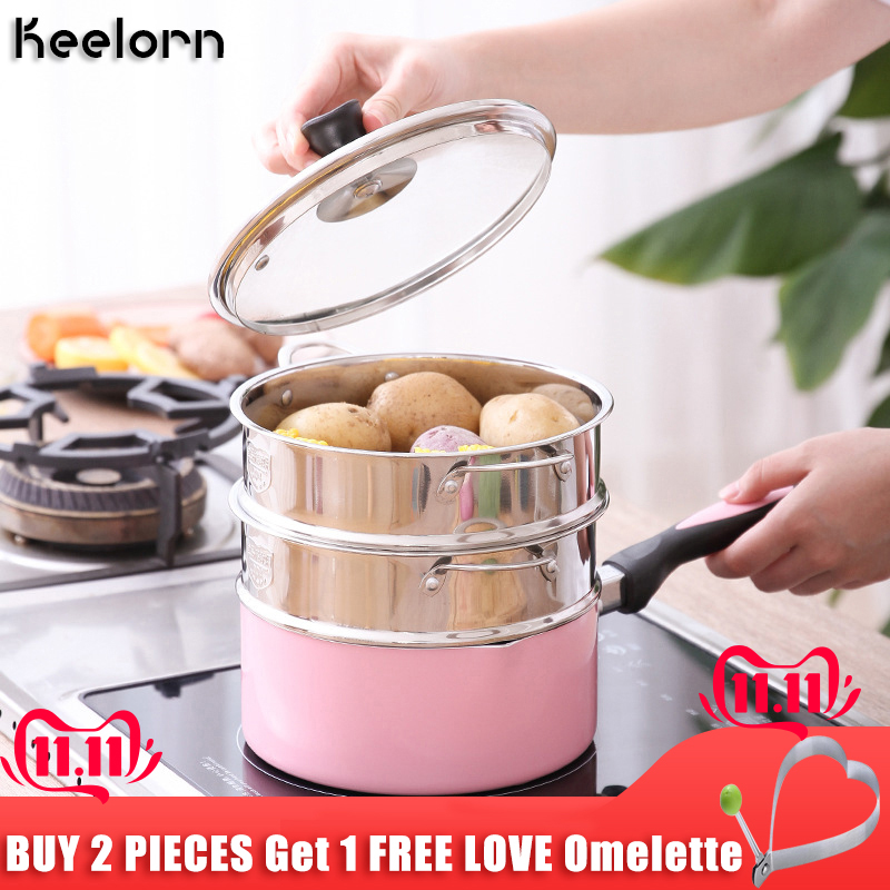 Keelorn 16CM 18CM 20CM 304 Stainless Steel Thickening Double Ear Steamer Multi-layer Steamer Kitchen Tools
