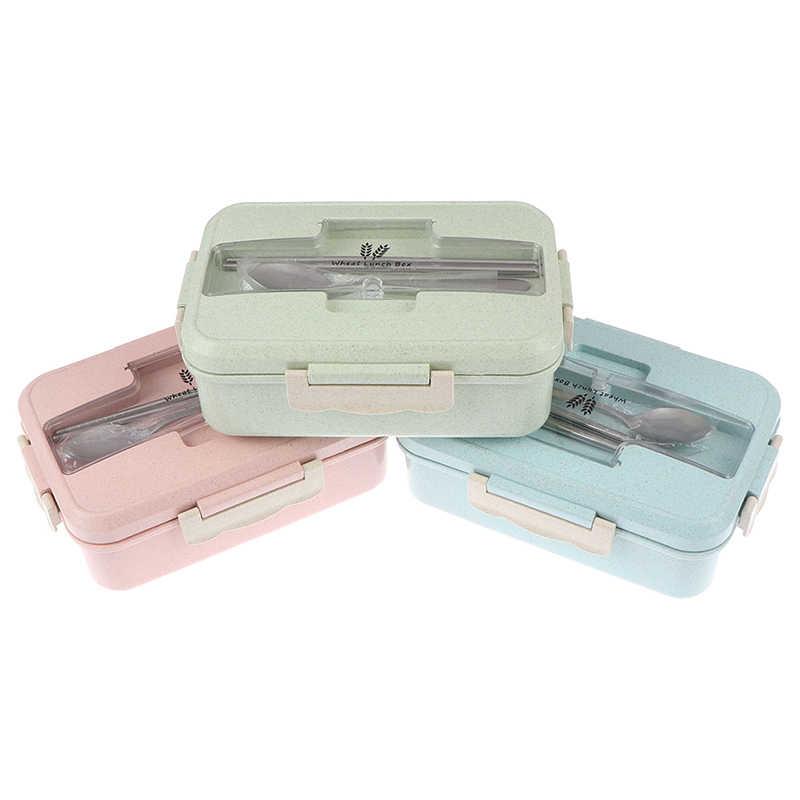 Caja de almuerzo, recipiente de comida, caja Bento, caja de almuerzo para niños, caja de almuerzo para niños, paja de bocadillo de trigo, caja de plástico sellada coreana para estudiantes