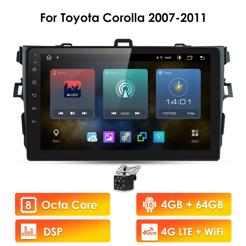 DSP 4G+64G Android 10 Car Radio For Toyota Corolla 2007-2011 Wifi Auto Stereo car no dvd gps Navigation stereo Multimedia Player(China)