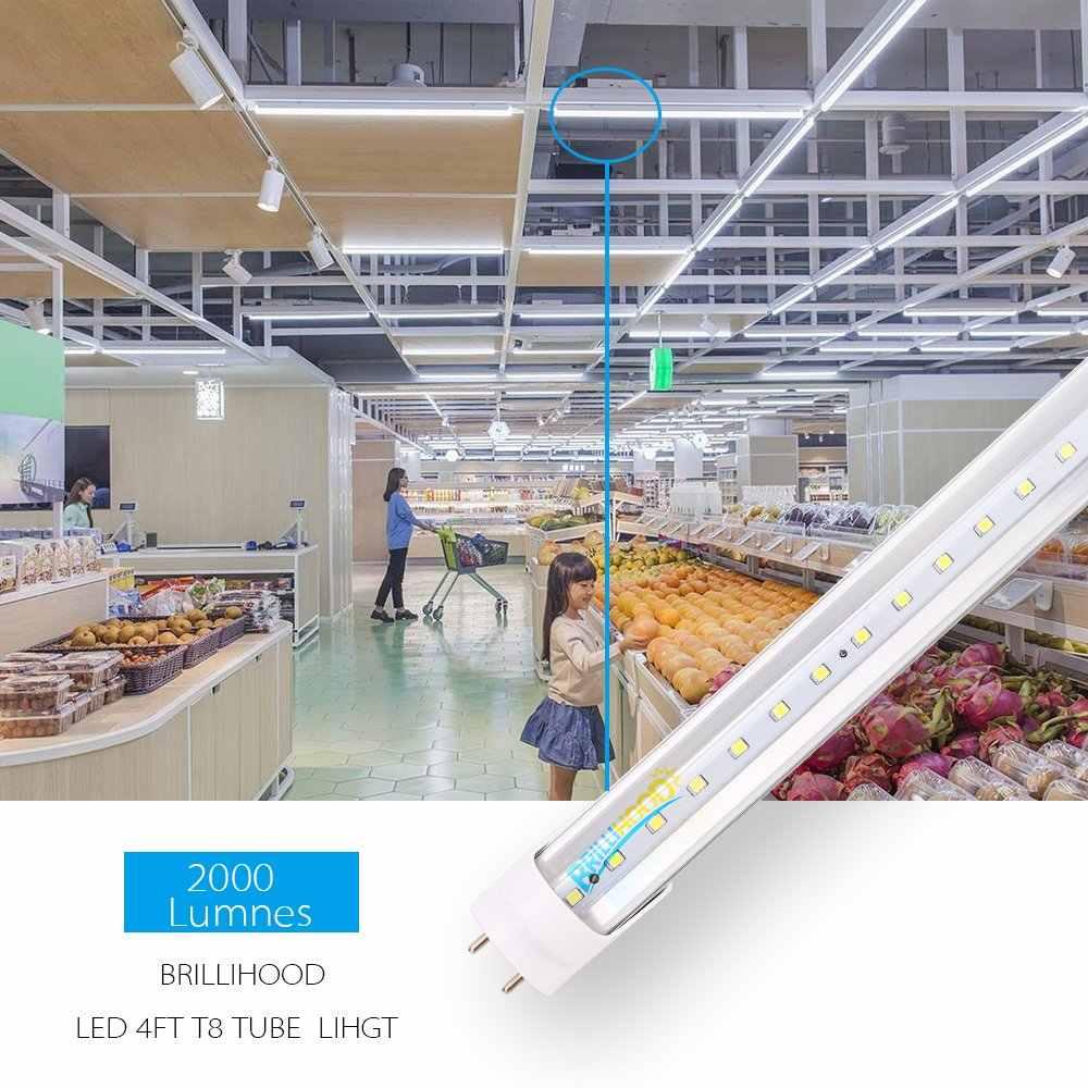 Lot de 25 tube de lumineux LED T8, 4FT, 18w (40W équivalent), double extrémité alimenté, 6000K blanc froid, 2000 Lumens, couvercle transparent jk878